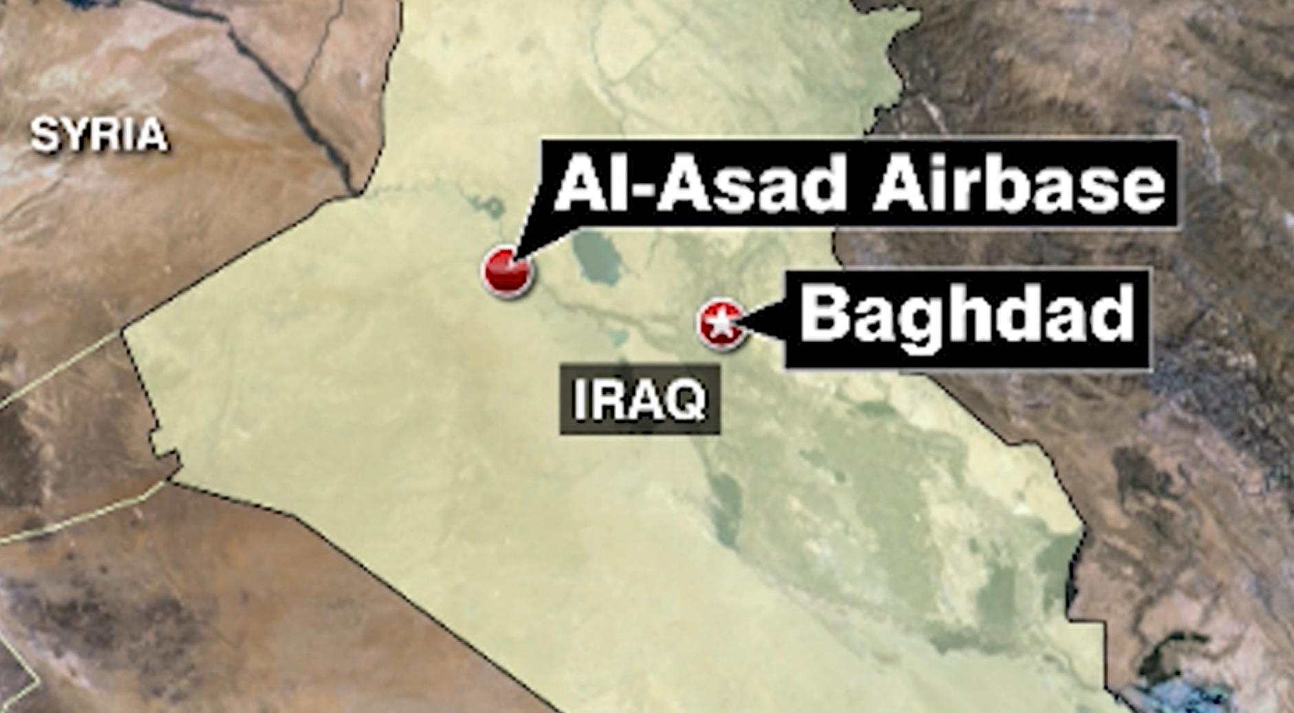 MAP: MISSILES LAND AT AIRBASE HOSTING U-S TROOPS