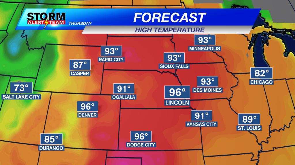 Regional Thursday Max Temperature