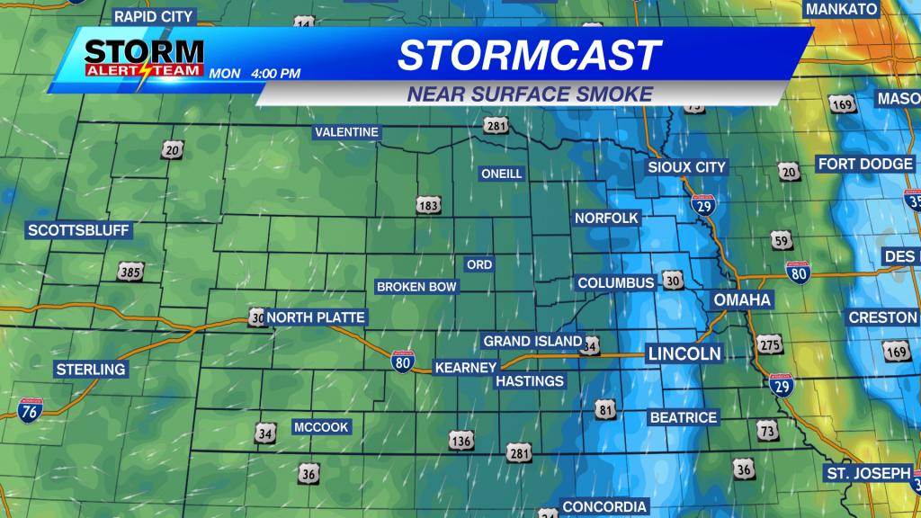 Stormcast Near Surface Smoke - Monday Afternoon