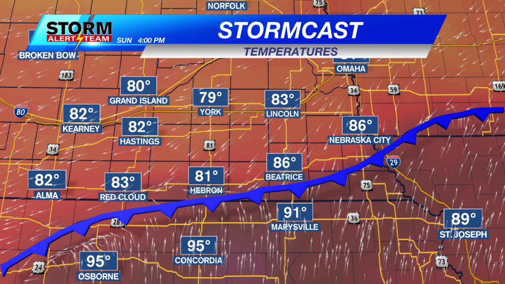 Stormcast Sunday Afternoon Temperatures